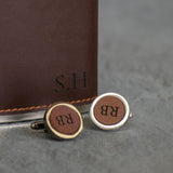 Leather or walnut cufflinks
