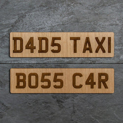 Personalised wooden car number plates