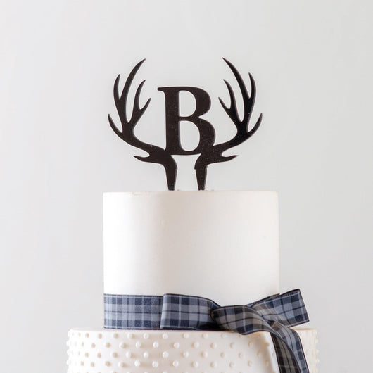 Antler cake topper with Wedding initials