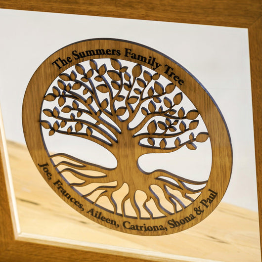 Family Tree Wood Cut Out With Frame Stag Design
