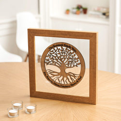 Family tree wood cut-out with frame