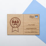 Father's Day wooden postcard