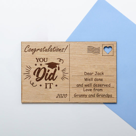 Graduation/school leavers congratulations wooden postcard