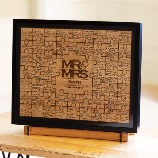 Frame for Mr & Mrs Jigsaw Guestbook - personalised jigsaw with option of black/white/oak/walnut frame