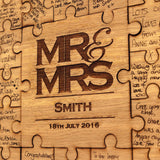 Mr & Mrs Jigsaw Guestbook - personalised jigsaw with option of black or white frame - Stag Design  - 2