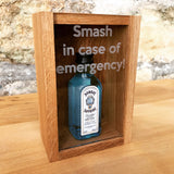 "Oak ""Smash in case of emergency"" miniature bottle box - Stag Design  - 9"
