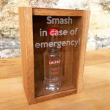 "Oak ""Smash in case of emergency"" miniature bottle box - Stag Design  - 8"