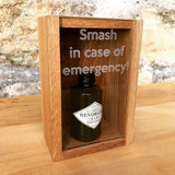 "Oak ""Smash in case of emergency"" miniature bottle box - Stag Design  - 7"