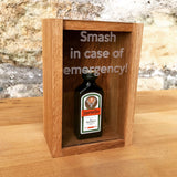 "Oak ""Smash in case of emergency"" miniature bottle box - Stag Design  - 6"