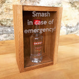 "Oak ""Smash in case of emergency"" miniature bottle box - Stag Design  - 5"
