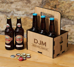Personalised wooden beer carrier - Stag Design  - 1