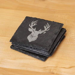 Stag head slate coaster - Stag Design