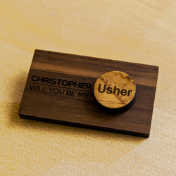 Personalised oak or walnut wedding lapel badges