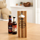 Magnetic bottle cap opener, solid oak or oak & maple or oak & walnut