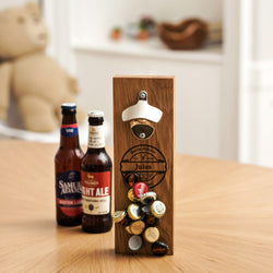 Magnetic bottle cap opener, solid oak or oak & maple or walnut & maple