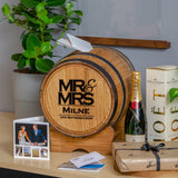 Mr & Mrs barrel wedding post box for gift cards