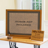 Jigsaw guestbook handmade solid wood frame, mount & background for jigsaws