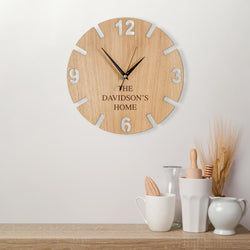 Personalised wooden family clock
