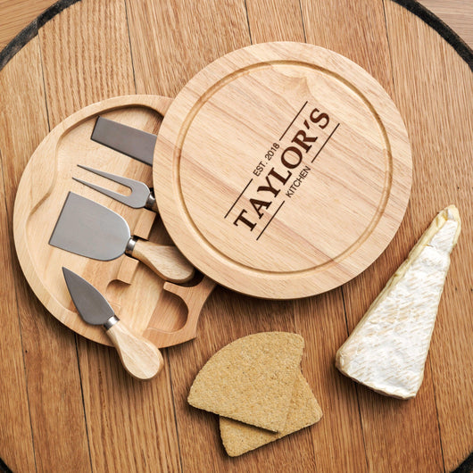 Personalised family cheese board and tools