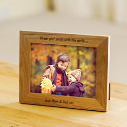 Personalised oak photo frame for kids