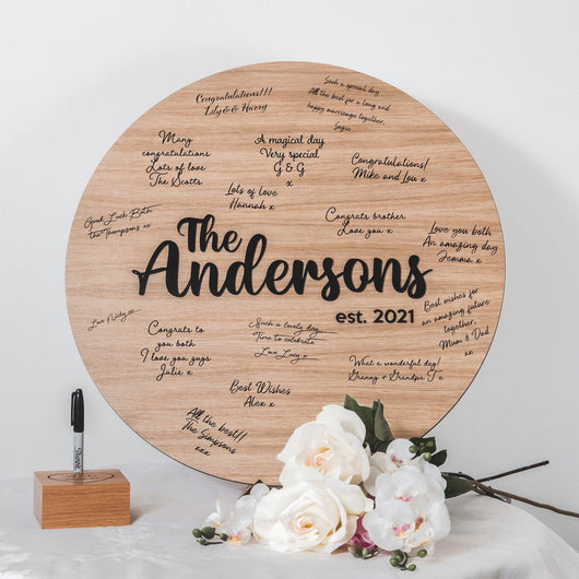 NEW! Wooden Round Alternative Guestbook Sign
