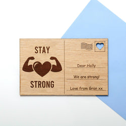 Stay strong wooden postcard
