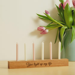 Valentine's oak candle holder with personalisation option