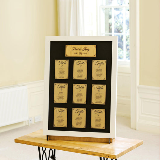 Personalised table plan for weddings and special celebrations