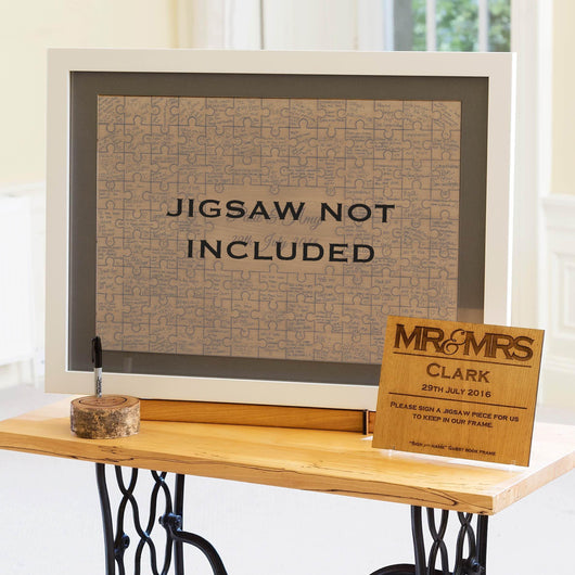 Jigsaw guestbook frame, mount & background for medium or large jigsaws - oak, white, black or walnut handmade solid wood frame