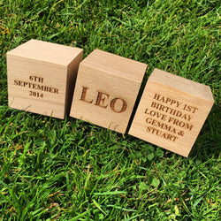 Large children's personalised beech building blocks - Stag Design