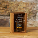 "Oak ""Smash in case of emergency"" miniature bottle box - Stag Design  - 1"