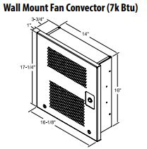 Central Boiler Wall Mount Fan Convector (7k BTU) - 1941