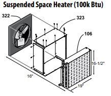 Central Boiler Suspended Space Heater Transition (100k BTU)