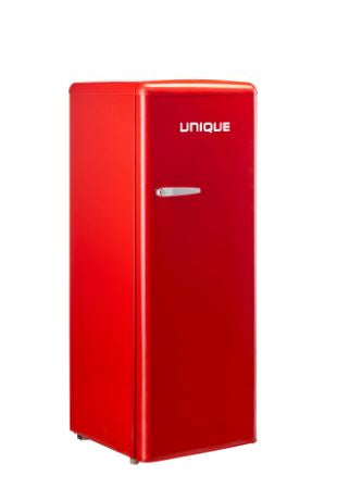 Unique 6.1 Cubic Foot Retro Solar Powered DC Upright Freezer Red