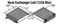 Central Boiler Heat Exchanger Coil (125K BTU) - 90° Outlets