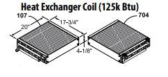 Central Boiler Heat Exchanger Coil (125K BTU) - Straight Outlet