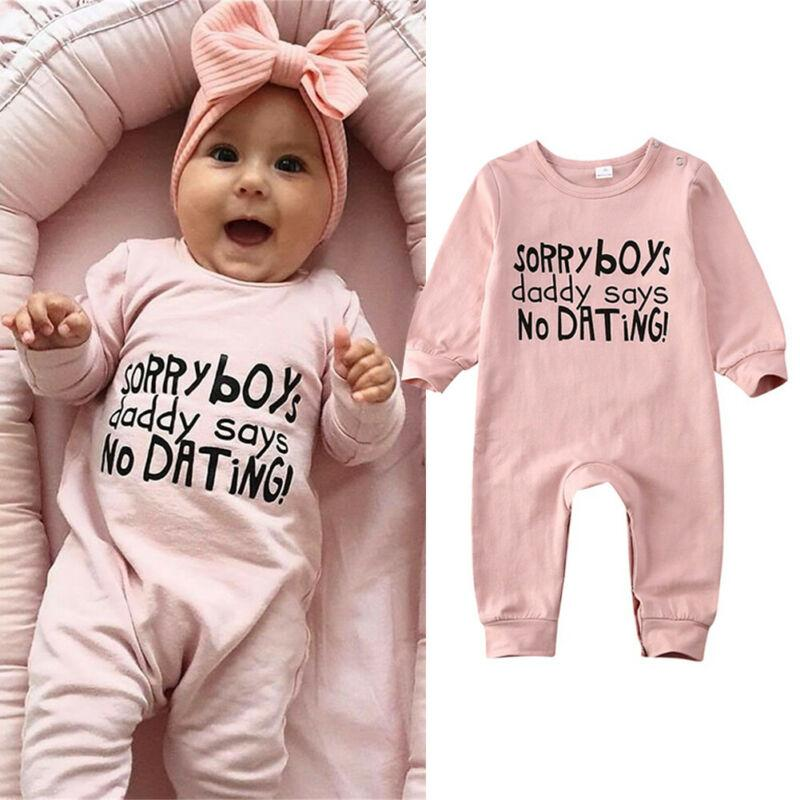 Cute Baby Girl Rompers Onesie - Daddy says no dating!