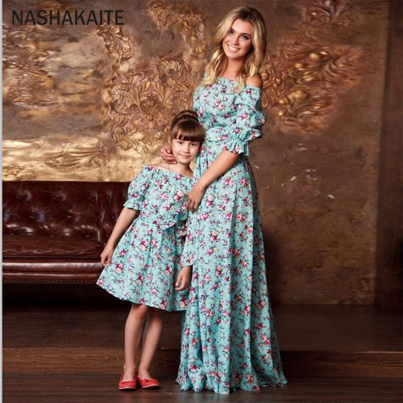 Mother Daughter Matching Dresses Half Puff Ruffled Sleeve Floral Long Dress with Belt