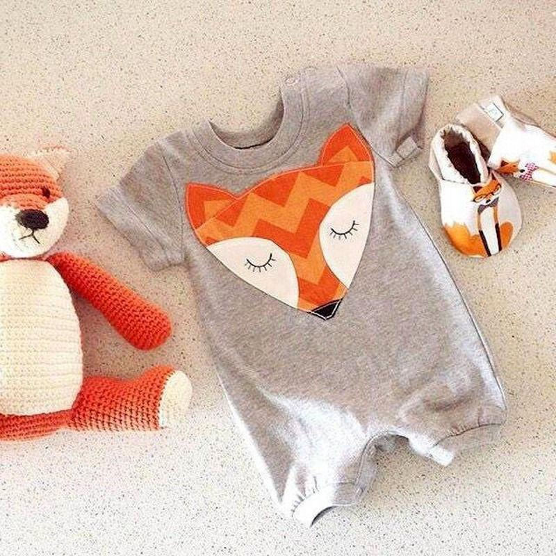 Newborn Baby Boys & Girls Fox Bodysuit Romper Onesie