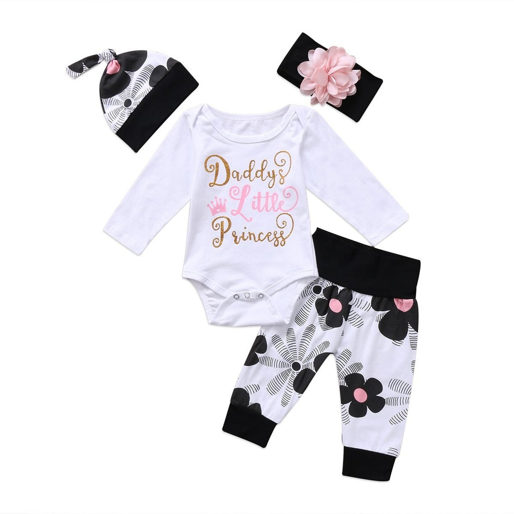 Newborn Baby Girl Flower Onesie Romper Outfit With Headband, Pants, and Hat - Daddy's Little Princess
