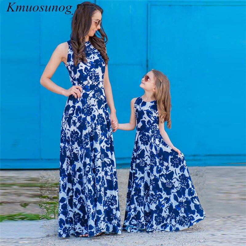 Porcelain Print Sleeveless Ankle-Length Mommy and Me Matching Dress