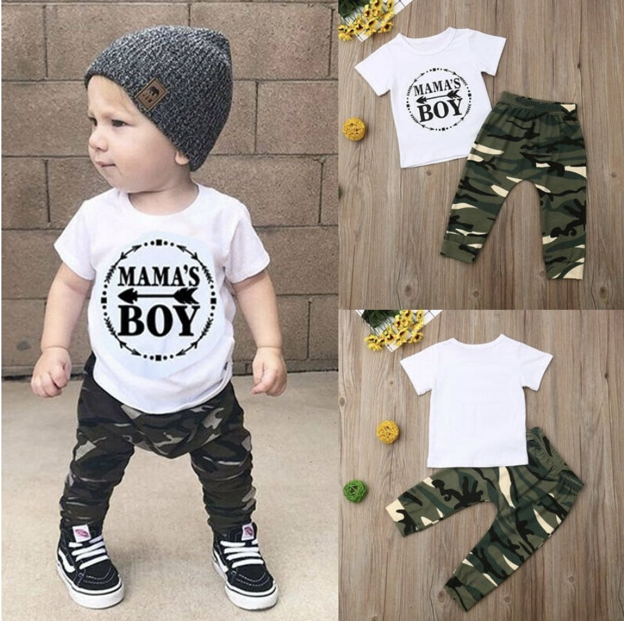 Summer Boutique Baby Boy Clothes - Mama's Boy Print