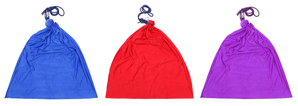 Blue, red and purple hanging sensory therapy swing indoor or outdoor hammock for kids and adults with Autism, ASD, Aspergers or ADHD