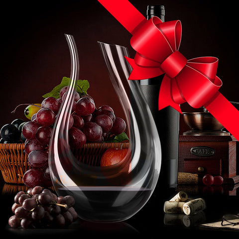 Photo showing that the Vinolo™ glass wine decanter aerator carafe pourer can be used as a gift for wine lovers and wine enthusiasts.