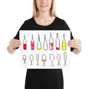 """I Can Call Vintage"" Bottles/Glasses - Print"