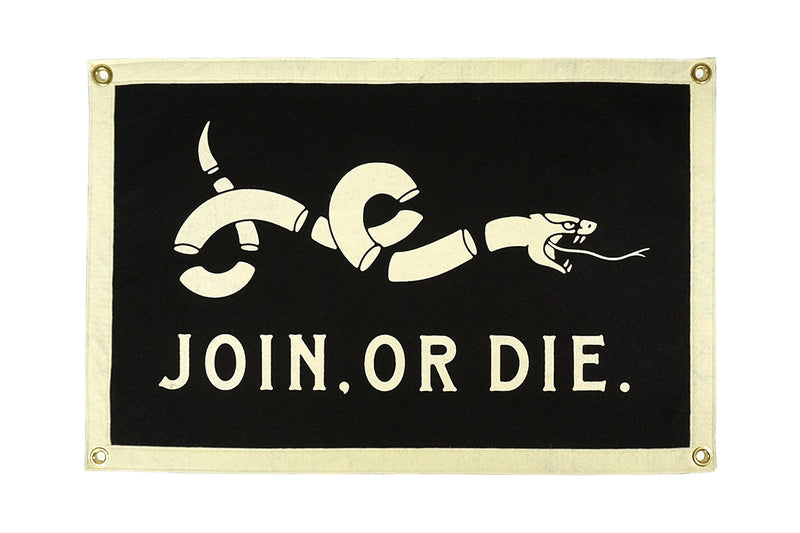 Join Or Die Camp Flag • United By Blue x True Hand Society x Oxford Pennant Original