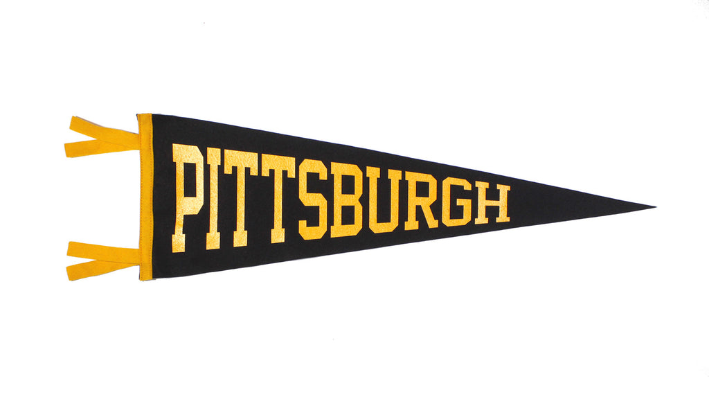 Pittsburgh, PA Pennant - Black and Yellow • Oxford Pennant Original