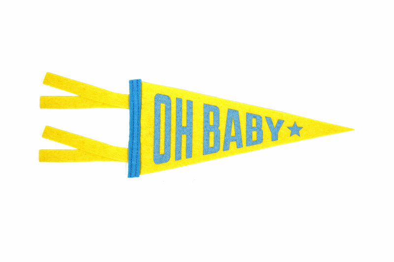 Oxford Pennant - Greeting Card & Matching Mini Pennant - Oh Baby