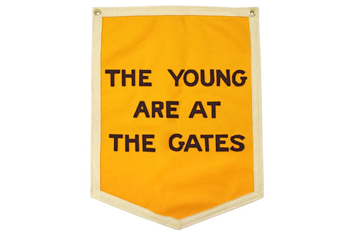 The Young Are At The Gates Championship Banner • Chrome Yellow x Office of Brothers x Oxford Pennant Original