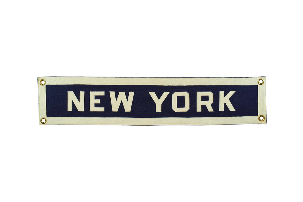 New York hand-sewn wool felt banner.